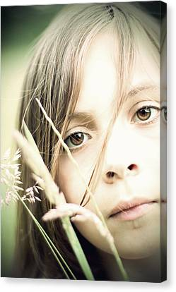 Young Girl In Field Of Grasses Canvas Print by Ethiriel  Photography