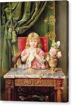 Young Girl With A Dove   Canvas Print by Ignacio Leon y Escosura
