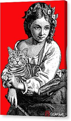 Young Girl With Cat Canvas Print
