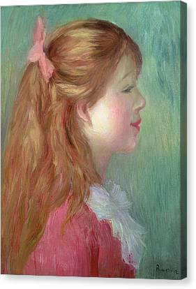 Young Girl With Long Hair In Profile Canvas Print by Pierre Auguste Renoir