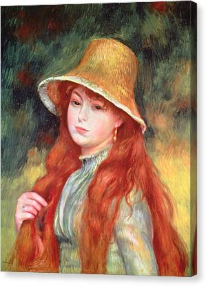 Young Girl With Long Hair Canvas Print by Pierre Auguste Renoir