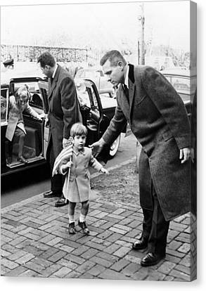 Young John And Caroline Kennedy Canvas Print by Everett