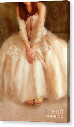 Young Lady Sitting In Satin Gown Canvas Print