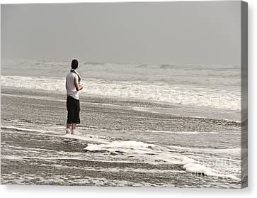 Young Man And The Pacific Ocean Canvas Print by Yurix Sardinelly