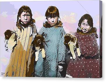 Young Native American Eskimo Canvas Print by Charles Shoup