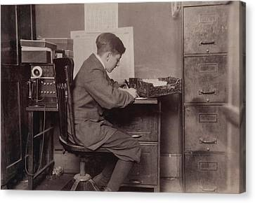 Young Office Boy, Working For J.j Canvas Print by Everett