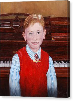 Young Piano Student Canvas Print by Phyllis Barrett