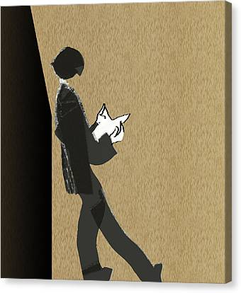 Canvas Print featuring the digital art Young Scholar by Asok Mukhopadhyay