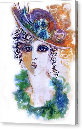 Young Woman Face With Curls In Blue Green Dress Purple Hat With Flower  Canvas Print by Rachel Hershkovitz