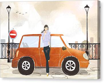 Young Woman Standing In Front Of Car Drinking Takeaway Coffee Canvas Print