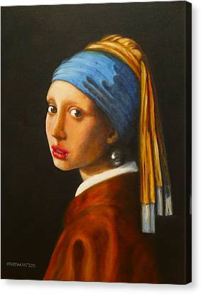 Young Woman With Pearl Earring Canvas Print by Hugo Palomares