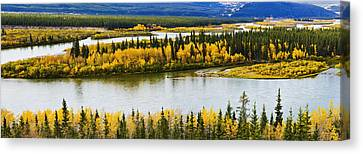 Yukon River And Fall Colours Canvas Print by Yves Marcoux