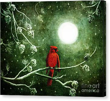 Yuletide Cardinal Canvas Print by Laura Iverson