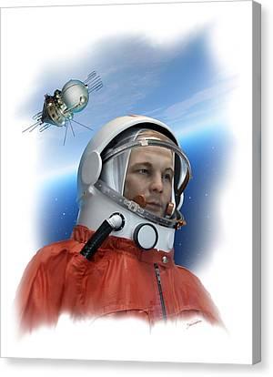 Yuri Gagarin, Soviet Cosmonaut, Artwork Canvas Print by Detlev Van Ravenswaay