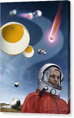 Yuri Gagarin's Landing, Artwork Canvas Print by Detlev Van Ravenswaay