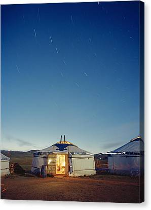 Yurt Under A Starry Sky In Mongolia Canvas Print