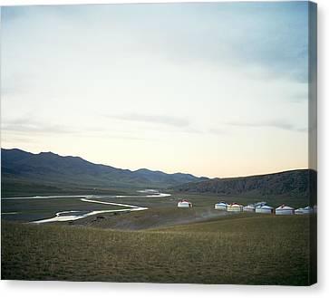 Yurts In The Orkhon Valley Of Karakorum Mongolia Canvas Print