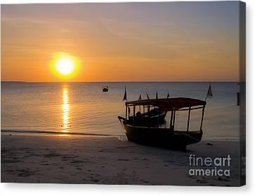 Zanzibar Boat At Sunset Canvas Print by Darcy Michaelchuk