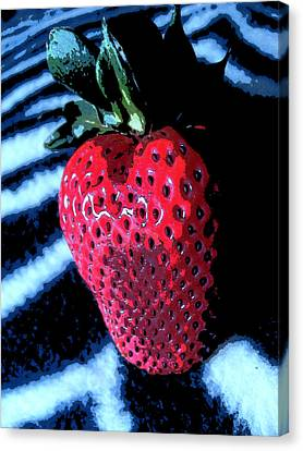 Canvas Print featuring the photograph Zebra Strawberry by Kym Backland