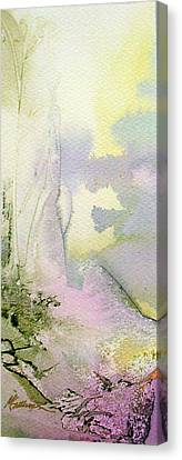Canvas Print featuring the painting Zen Mountain by Mary Sullivan
