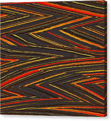 Zig Zag Collection Grey Vs Orange Canvas Print by James Mancini Heath