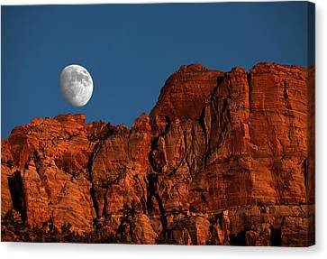 Zion Moonrise Canvas Print by David Yunker