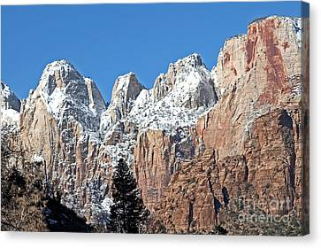 Canvas Print featuring the photograph Zion Towers by Bob and Nancy Kendrick