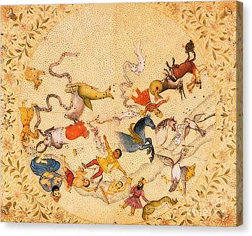 Zodiac Signs From Indian Manuscript Canvas Print by Science Source
