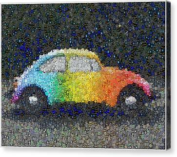 Zodiac Vw Bug Mosaic Canvas Print by Paul Van Scott