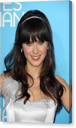 Zooey Deschanel At Arrivals For Los Canvas Print by Everett