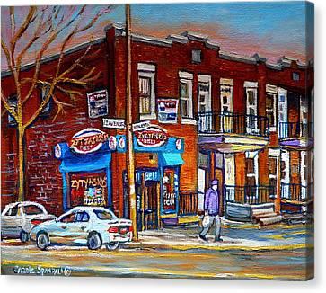Zytynsky's Deli Montreal Canvas Print by Carole Spandau