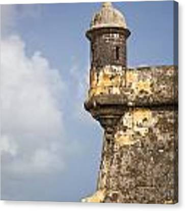 Fortified Walls And Sentry Box Of Fort San Felipe Del Morro Canvas Print by Bryan Mullennix