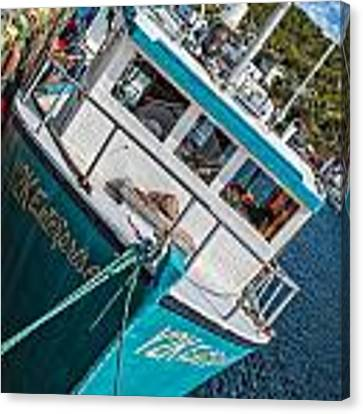 Fishing Boat In Petty Harbour Canvas Print by Perla Copernik