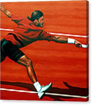 Roger Federer At Roland Garros Canvas Print