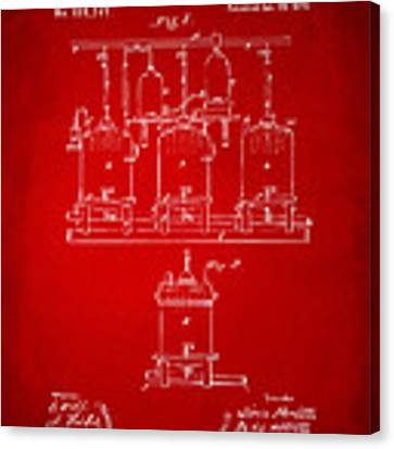 1873 Brewing Beer And Ale Patent Artwork - Red Canvas Print
