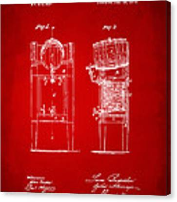 1876 Beer Keg Cooler Patent Artwork Red Canvas Print