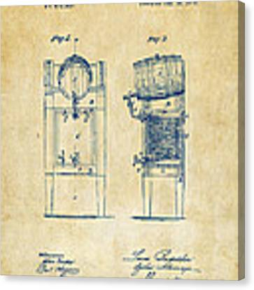 1876 Beer Keg Cooler Patent Artwork - Vintage Canvas Print