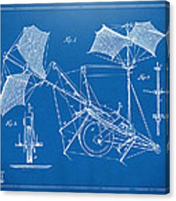 1879 Quinby Aerial Ship Patent Minimal - Blueprint Canvas Print