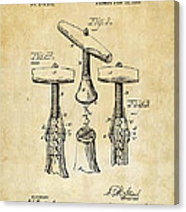 1883 Wine Corckscrew Patent Art - Vintage Black Canvas Print