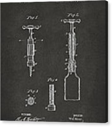 1884 Corkscrew Patent Artwork - Gray Canvas Print