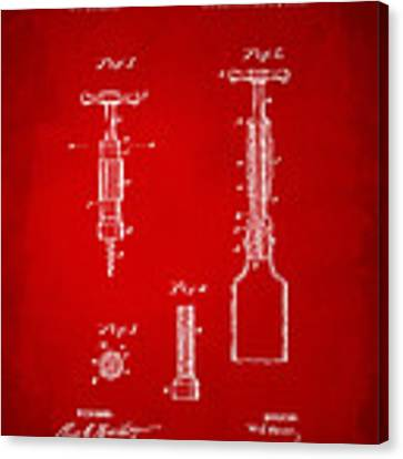 1884 Corkscrew Patent Artwork - Red Canvas Print