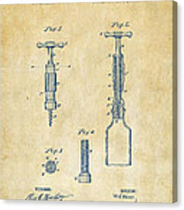 1884 Corkscrew Patent Artwork - Vintage Canvas Print