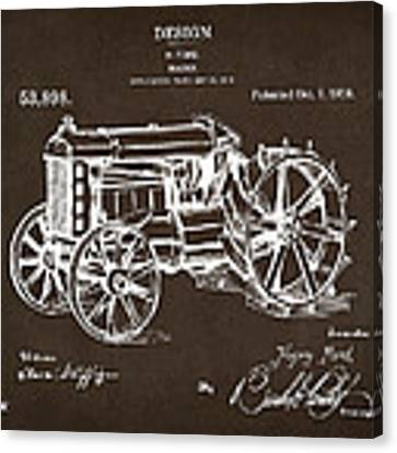 1919 Henry Ford Tractor Patent Espresso Canvas Print by Nikki Marie Smith