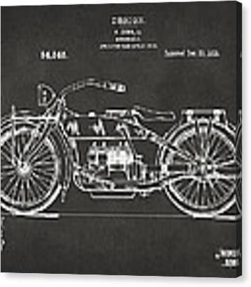 1919 Motorcycle Patent Artwork - Gray Canvas Print