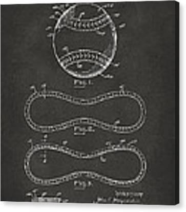 1928 Baseball Patent Artwork - Gray Canvas Print
