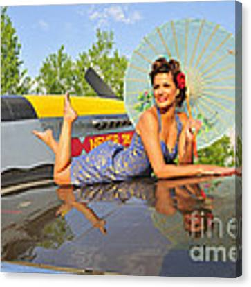 1940s Style Pin-up Girl With Parasol Canvas Print by Christian Kieffer
