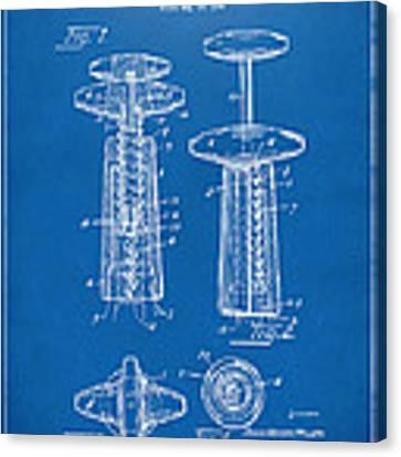 1944 Wine Corkscrew Patent Artwork - Blueprint Canvas Print