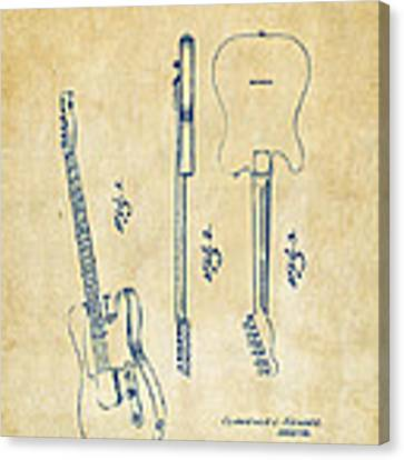 1951 Fender Electric Guitar Patent Artwork - Vintage Canvas Print