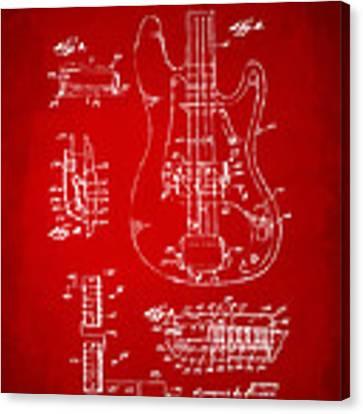1961 Fender Guitar Patent Artwork - Red Canvas Print