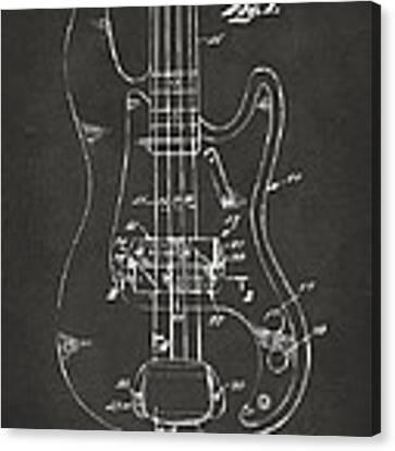 1961 Fender Guitar Patent Minimal - Gray Canvas Print by Nikki Marie Smith